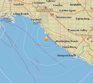 USGS Map of Huntington Beach Earthquake